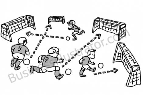 Lack of alignment – kicking the ball in different goals cartoon